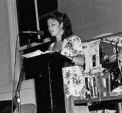 Janet_Cannon_ReadingHerPoems_KerouacConference_NaropaAssemblyHall_Boulder_1982