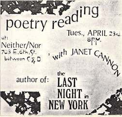JanetCannon_Poetry_Reading_Neither:Nor_New_York_City_NY_circa_1985