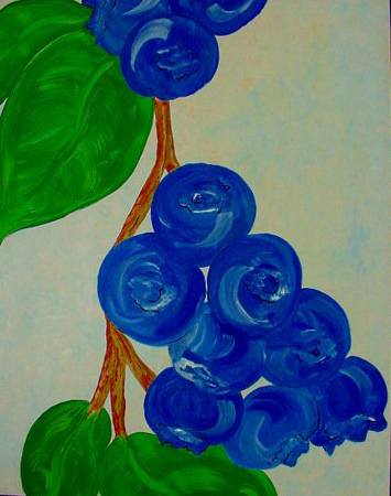 Blueberries (acrylic on canvas, 24 x 30 in.)