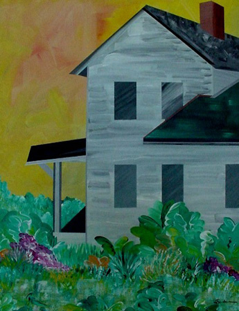 Farmhouse Eleven (acrylic on canvas, 30 x 24 in.)