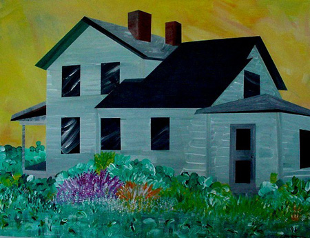 Farmhouse Fifteen (acrylic on canvas, 30 x 24 in.)