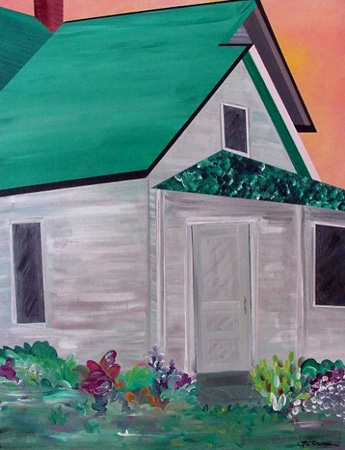 Farmhouse Two (acrylic on canvas, 24 x 30 in.)