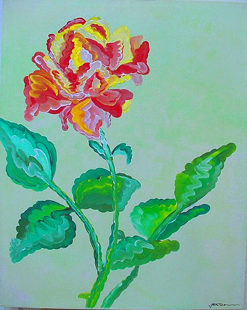 Variegated Rose (acrylic on canvas, 24 X 30 in.)